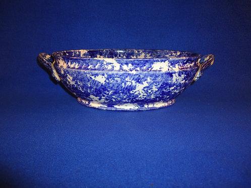 Blue and White Spongeware Stoneware Casserole Dish, #4644