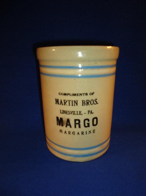 Margo Margarine, Martin Bros., Linesville, Pennsylvania Stoneware Butter Crock