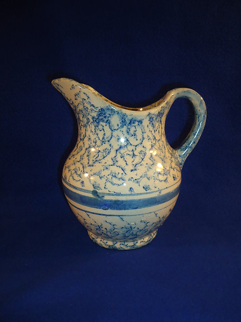 Blue and White Spongeware Hot Water Pitcher with Stripes, #4807