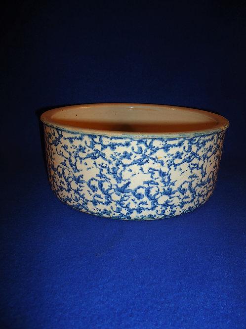 Blue and White Spongeware Stoneware Cheese Crock, #4734