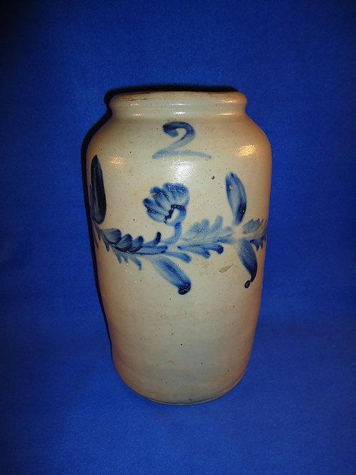 2 Gallon Stoneware Jar with Floral Garland, att. Henry Remmey of Philadelphia