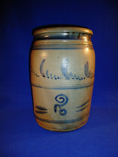 Circa 1865 2 Gallon Jar with Freehand Decoration from Southwestern Pennsylvania