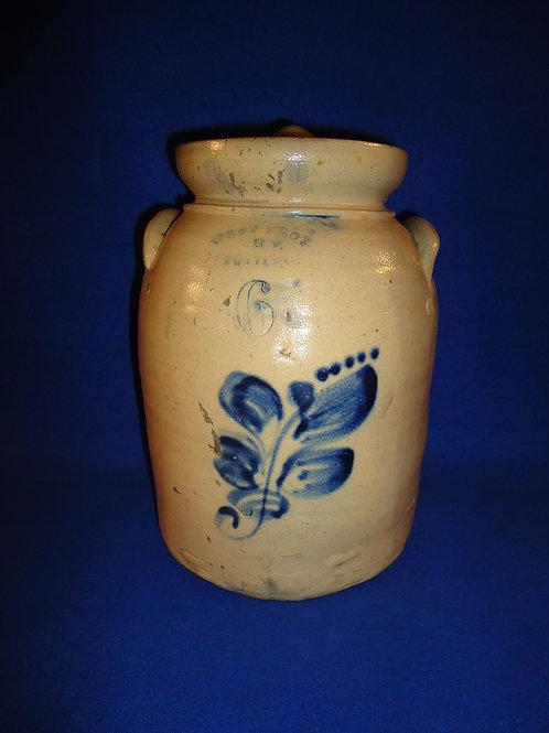 West Troy Pottery 6 Quart Lidded Preserve Jar with Floral, #4915