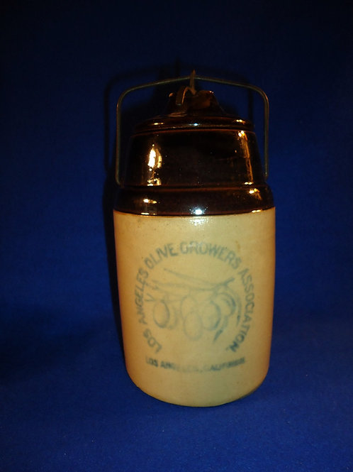 Los Angeles Olive Growers Stoneware Canner by Weir of Monmouth, Illinois