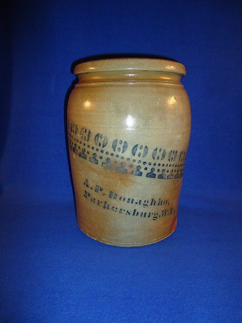 A. P. Donaghho, Parkersburg, West Virginia Stoneware 2 Gallon Jar #4528