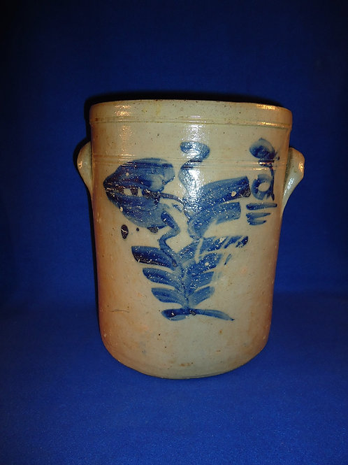 Mid 19th Century 3 Gallon Crock with Tulip from Ohio