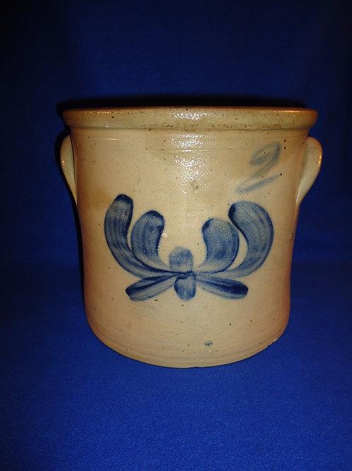 J. Fisher, Lyons, New York Stoneware 2g Crock with Iris Decoration