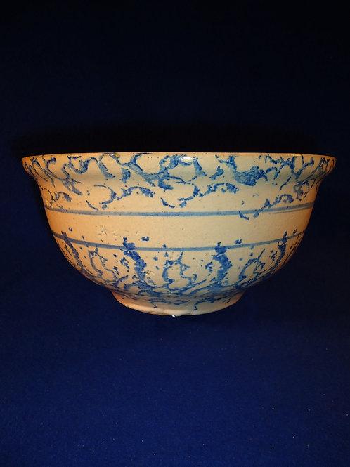 "Blue and White Stoneware Spongeware 8"" Striped Bowl"