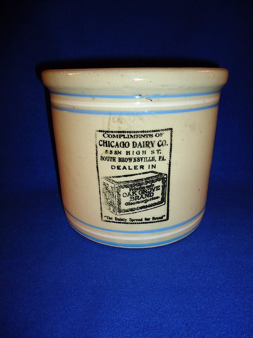 Chicago Dairy, South Brownsville, Pennsylvania Stoneware Butter Crock