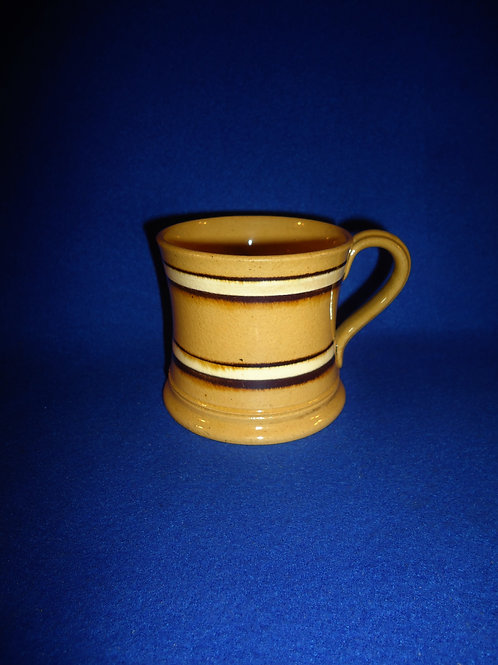 Mid-19th Century Yellow Ware Mug with Brown and White Stripes