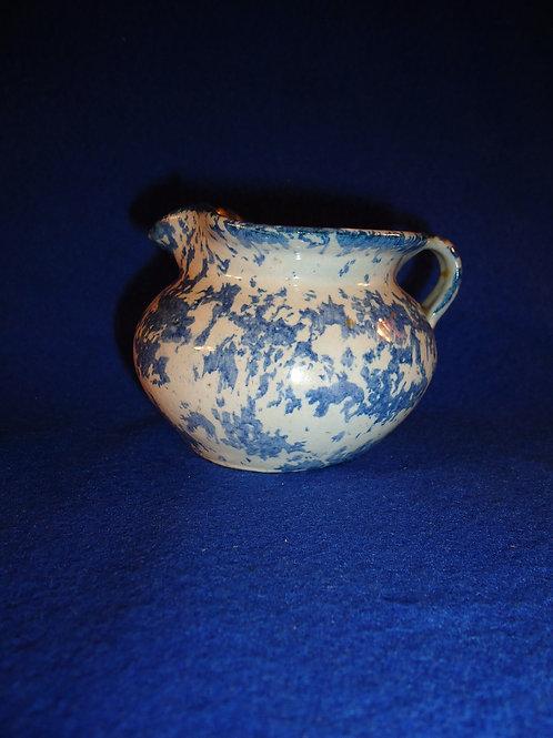 Blue and White Stoneware Spongeware Creamer