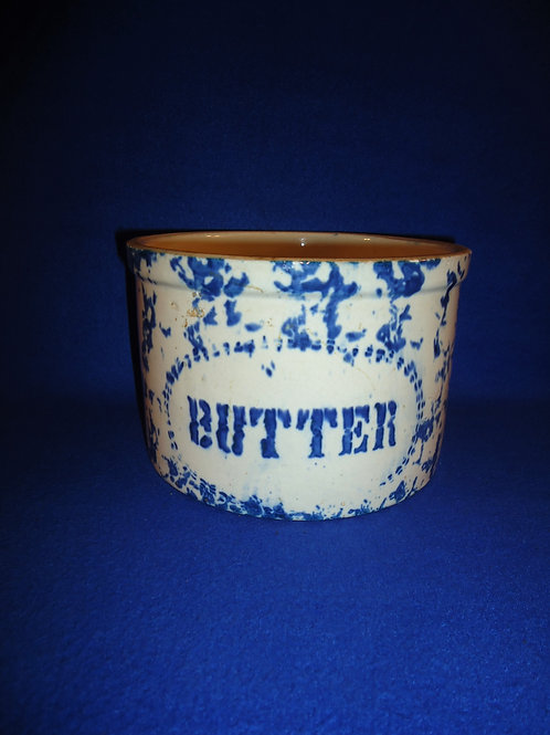Blue and White Spongeware Butter Crock, Dotted Oval Label #5462