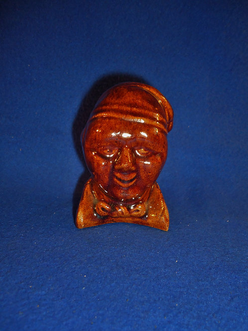 19th Century Yellow Ware Figural Bank, Bust of a Man in his Sleeping Cap