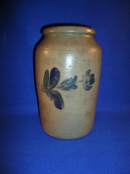 1 Gallon Stoneware Jar with 3 Tulips, att. Henry Remmey of Philadelphia #4504