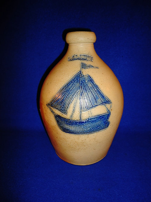 R. & B. Diebboll, Washington, Michigan Stoneware 1 Gallon Jug with Sailing Ship