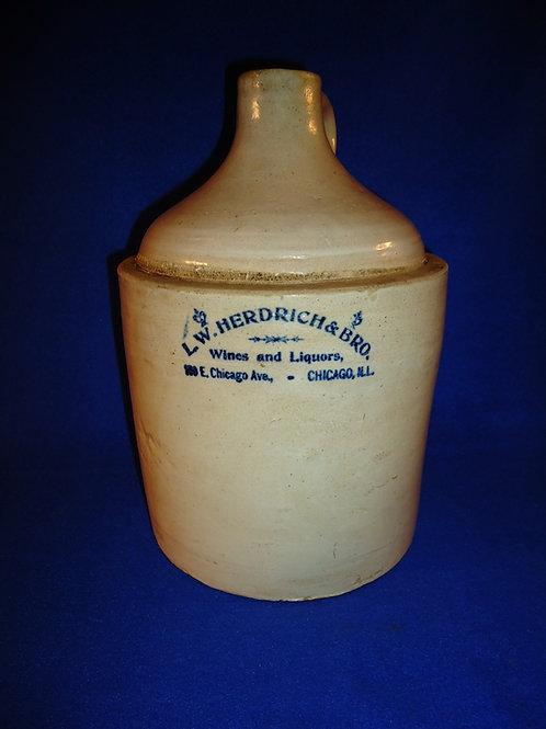 L. W. Herdrich, Wines and Liquors, Chicago, Illinois Stoneware 1 Gallon Jug