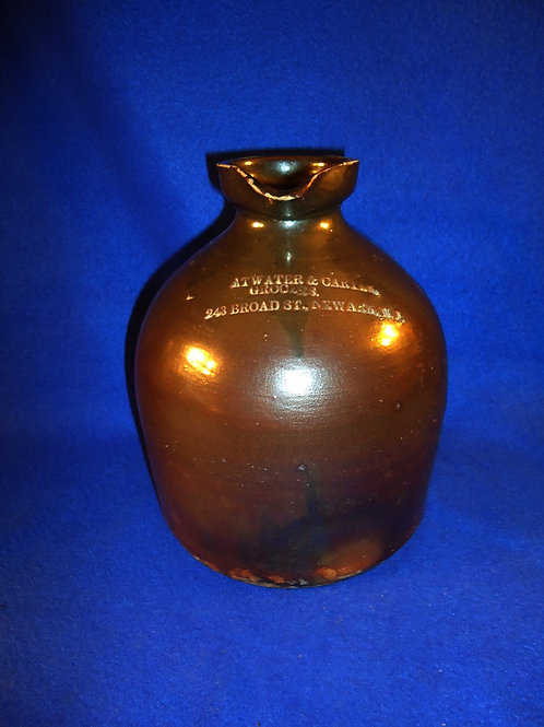 Atwater and Carter, Grocers, Newark, New Jersey Stoneware 1g Syrup Jug