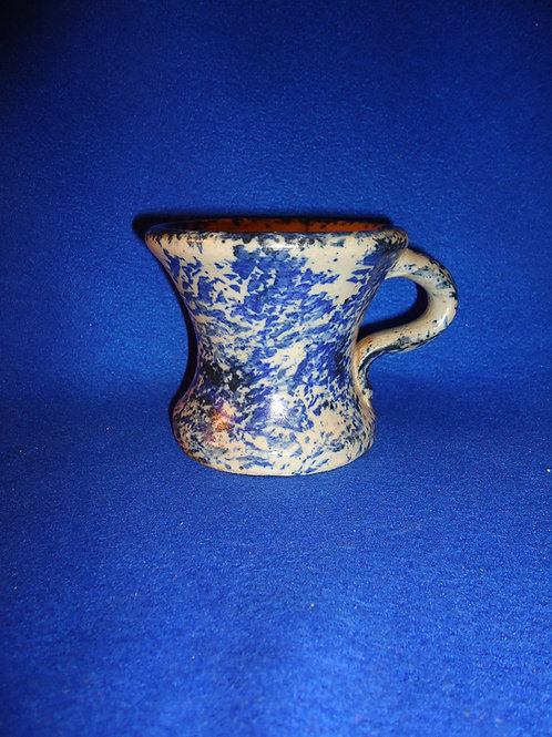 Mid-20th Century Blue and White Stoneware Spongeware Shaving Mug