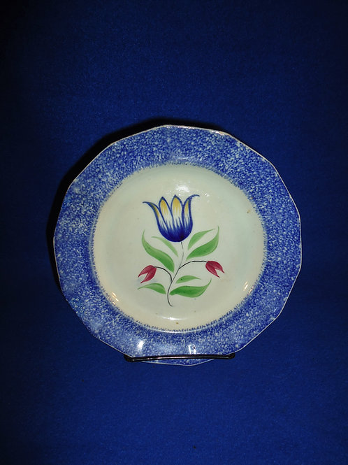 Thomas Walker, Staffordshire Spatterware Plate with Tulip #5002