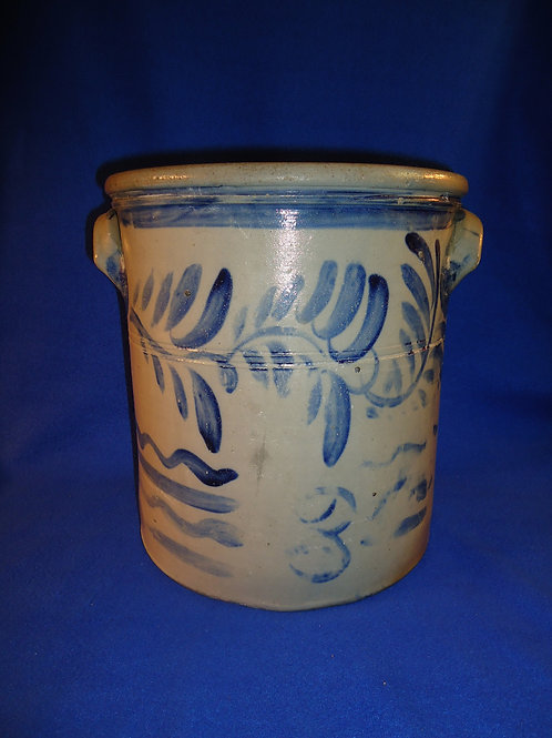 Circa 1865 4 Gallon Stoneware Crock with Freehand Vining from Pennsylvania