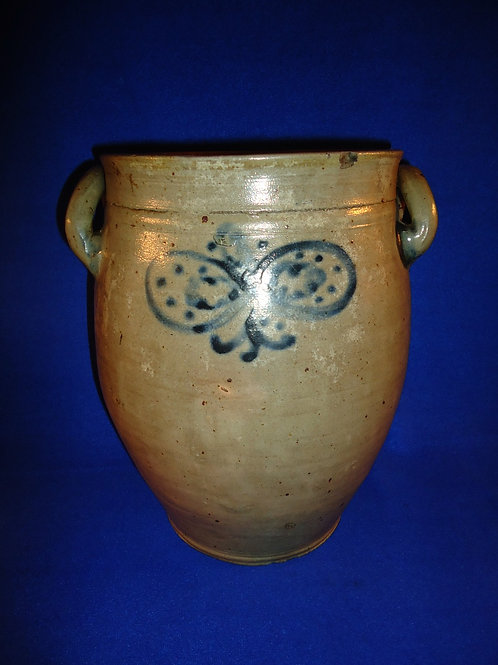Early 19th Century Stoneware Decorated Crock att. Manhattan or Cheesequake, N.J.