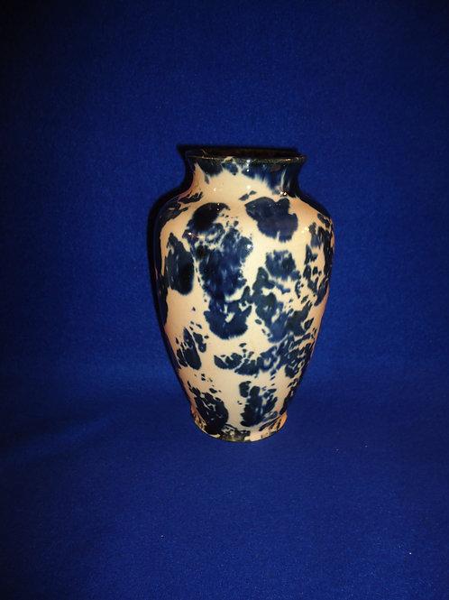 Early 20th Century Blue and White Spongeware Vase #4562