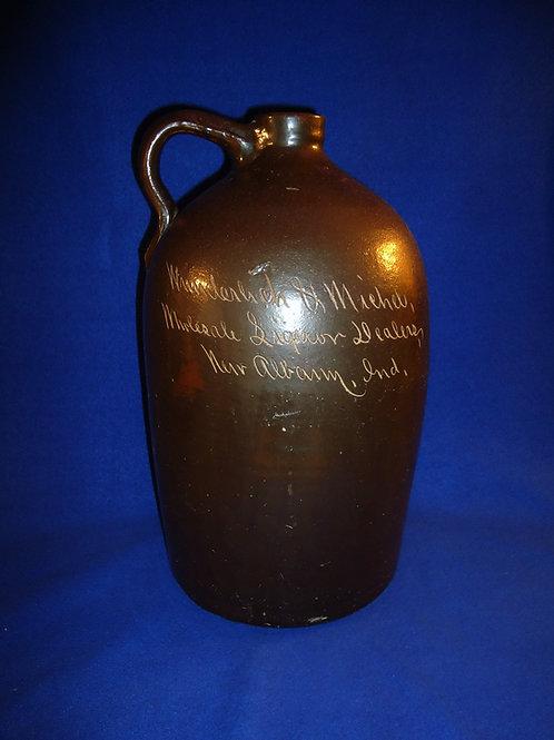 Wunderlich & Michel, Liquor, New Albany, Indiana Stoneware 2 Gallon Jug