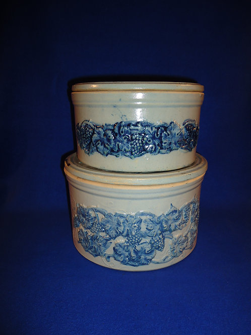 2 Signed Robinson Clay, Akron, Ohio Lidded Butter Crocks for 1 Money #4597