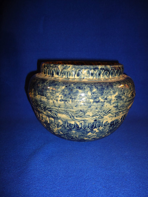 Yellow Ware Jardiniere with Cobalt Sponging by Robinson Clay, Akron, Ohio