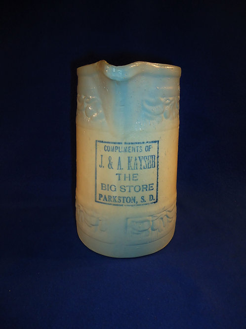 Blue and White Stoneware Pitcher, Parkston, South Dakota by Red Wing