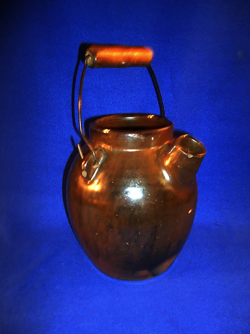 Circa 1870 3/4 Gallon Stoneware Batter Jug with Bail Handle