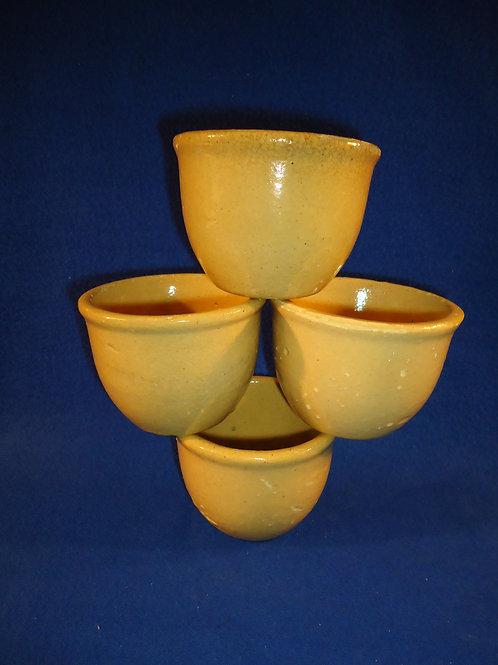 Circa 1900 Set of 4 Yellow Ware Large Size Custard Cups