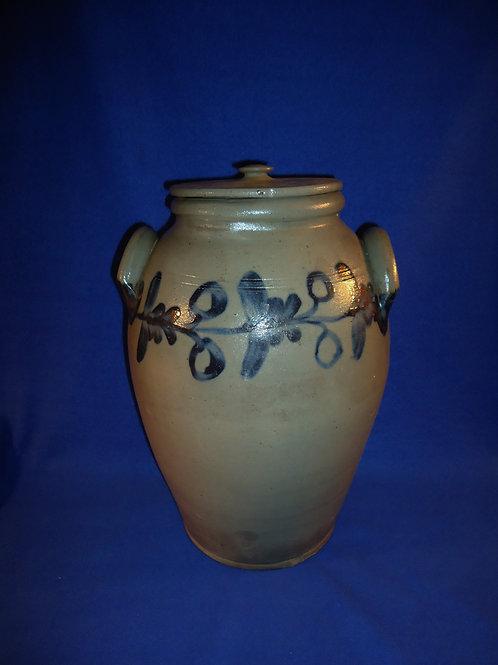 Circa 1830 3 Gallon Decorated Ovoid Jar, att. Henry Remmey of Philadelphia