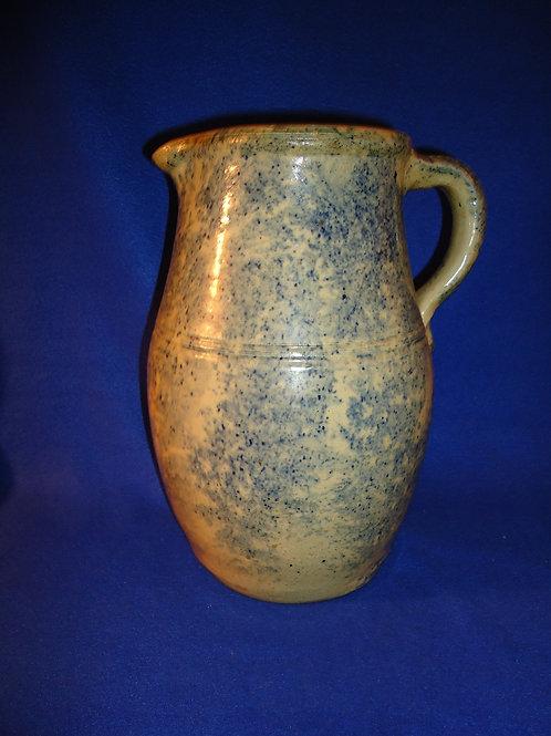 Blue and White Stoneware Spongeware 1 Gallon Pitcher