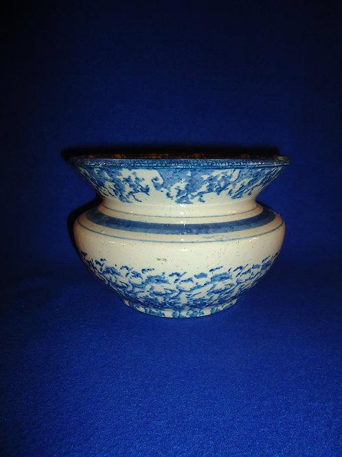 Blue and White Spongeware Stoneware Cuspidor with Stripes #5903