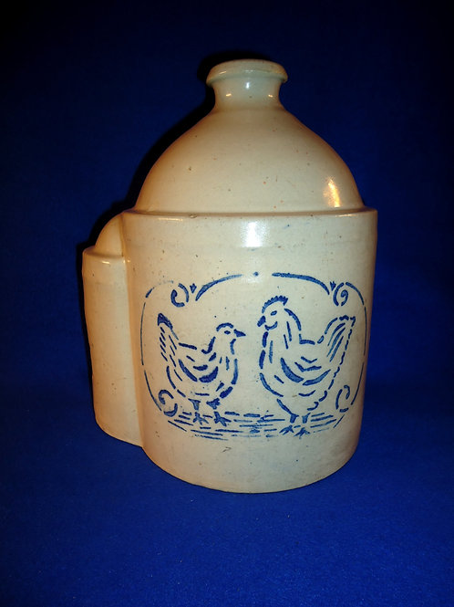 Blue and White Stoneware Chicken Waterer with Rooster and Hen