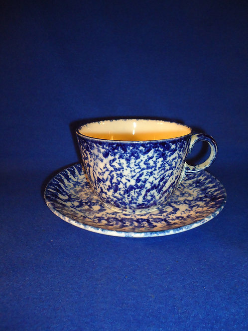 Blue and White Stoneware Spongeware Mush Cup with Saucer