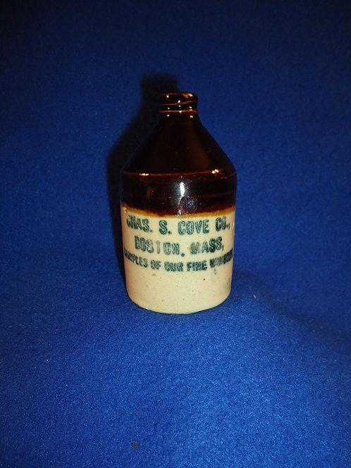 Chas. Cove, Boston, Massachusetts Stoneware Whiskey Mini Jug