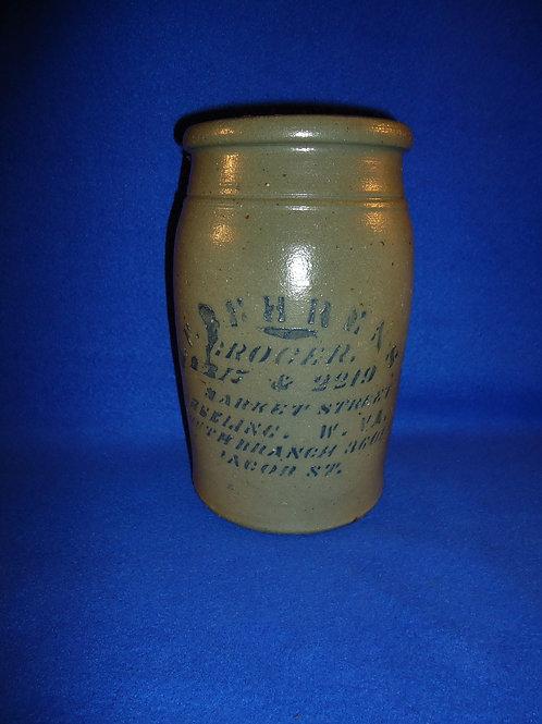 """H. F. Behrens, Grocer, Market St., Wheeling, West Virginia 8 1/2"""" Stoneware Jar"""
