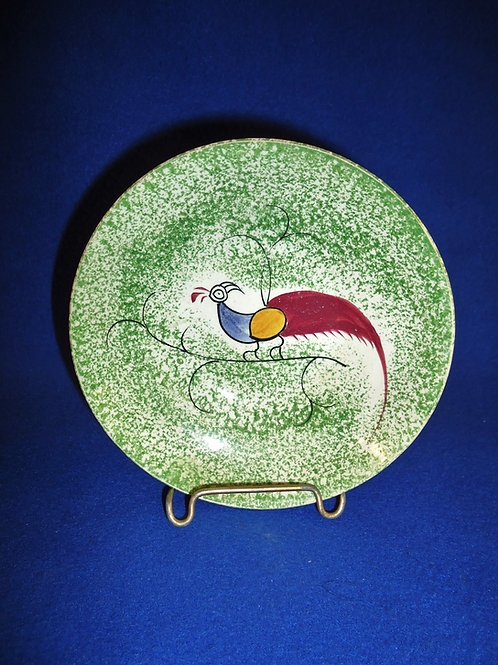 Green Spatterware Saucer with Peafowl by Reed & Taylor #4628