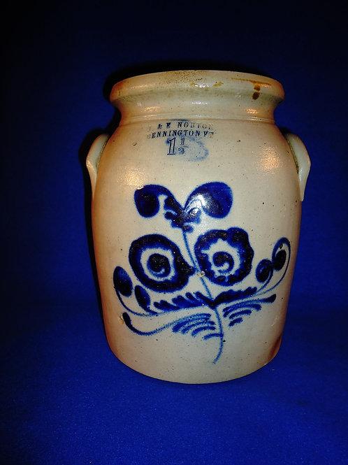 J. & E. Norton, Bennington, Vermont Stoneware Preserve Jar with Gorgeous Floral