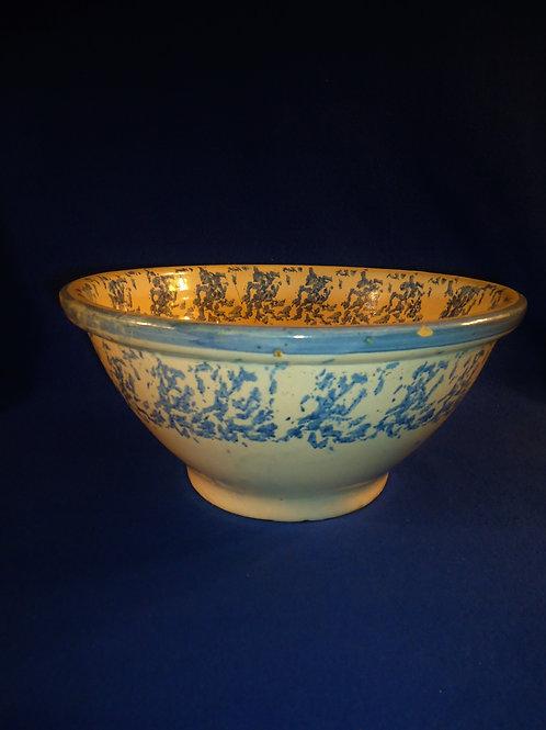 "Blue and White Spongeware Stoneware 11 1/2"" Bowl"