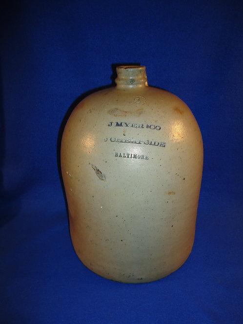 J. Myer, Baltimore, Maryland Stoneware 2 Gallon Jug