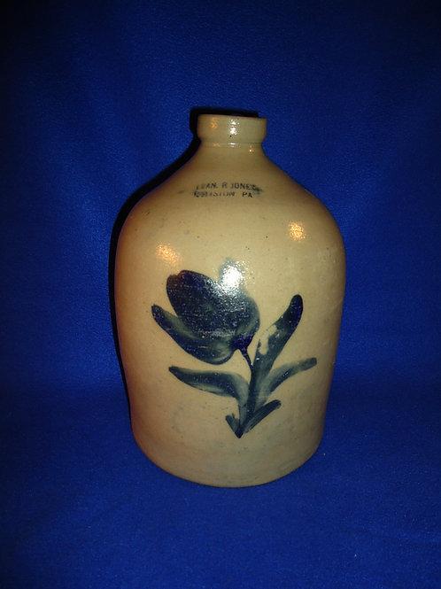 Evan Jones, Pittston, PA Stoneware 1 Gallon Jug with Tulip