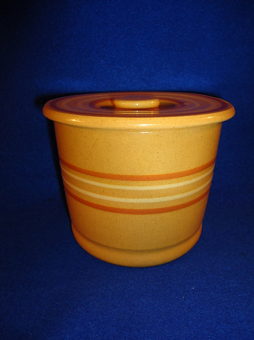 Yellow Ware Butter Crock with Rust and White Slip Mocha Bands