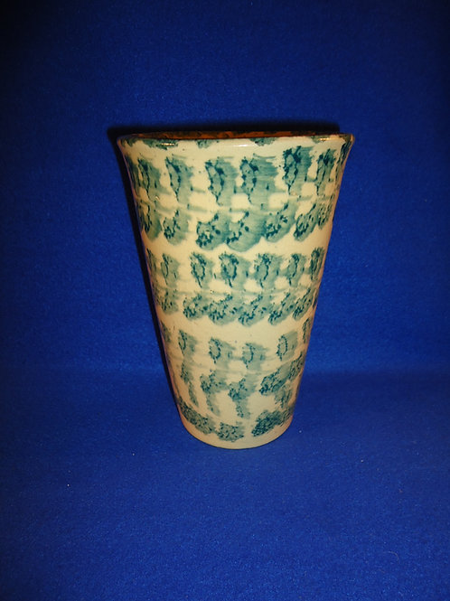 "Green and White Spongeware Stoneware 7 1/4"" Vase"