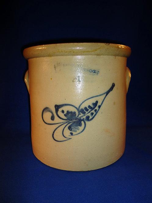 New York Stoneware 4 Gallon Crock with Leaf
