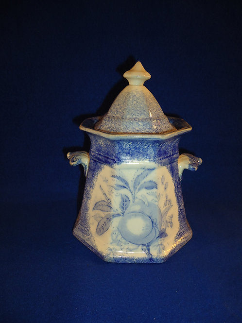 Blue and White Spatterware Lidded Sugar Bowl with Peach Transfer