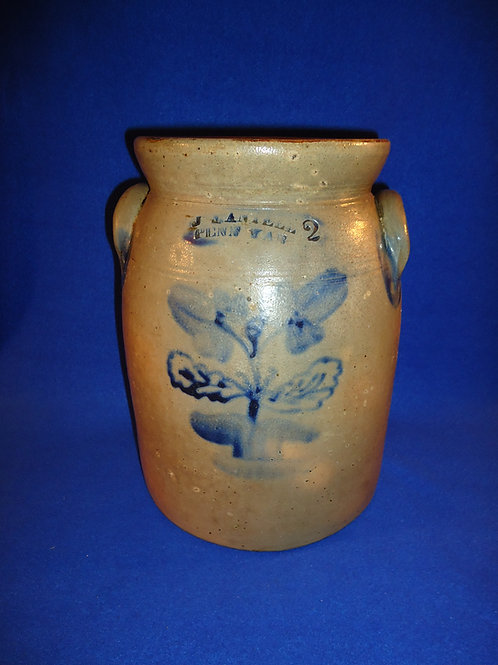 J. Mantell, Penn Yan, New York Stoneware 2 Gallon Jar with Urn of Tulips