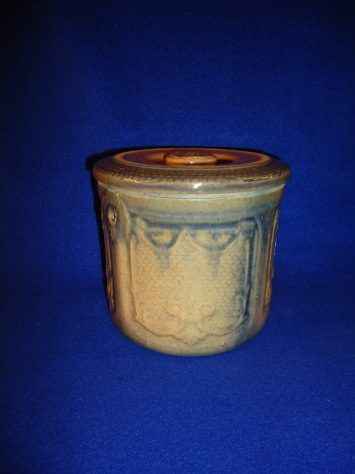 Yellow Ware Draped Window Butter Crock with Lid, Stoneware